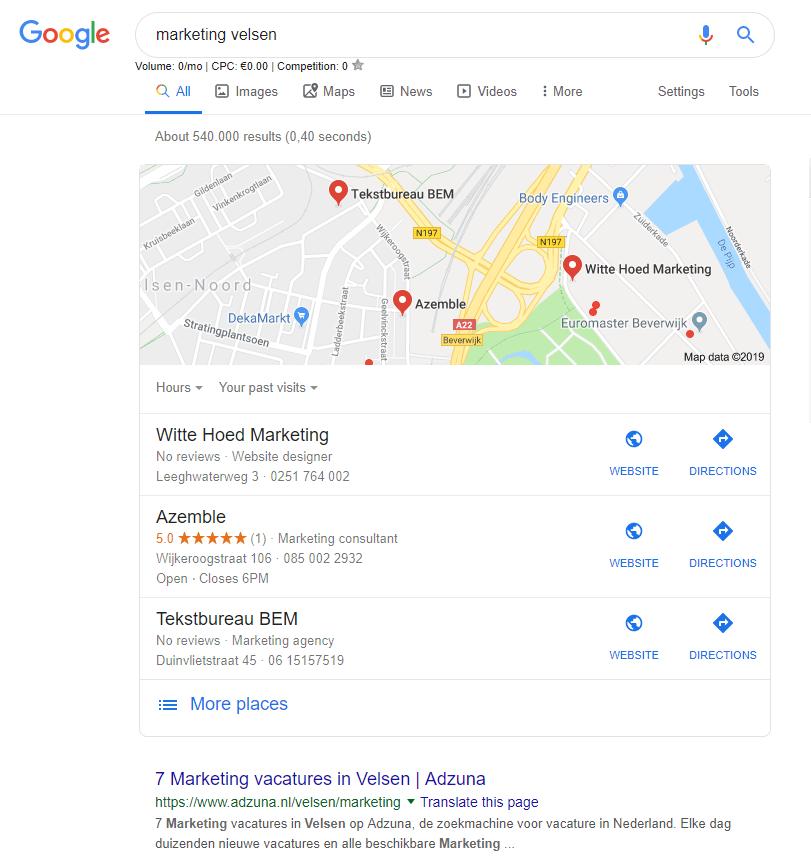 Voorbeeld lokale 3pack in Google door GMB
